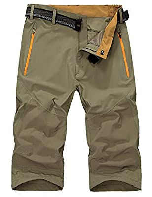 EKLENTSON Hiking Shorts Men Quick Dry Shorts Expandable Waist Lightweight Outdoor Tactical Shorts for Men Khaki