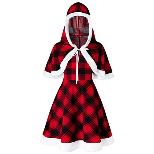 Vrouwen Kerstmis Hooded Mini Jurk Set, Dames Plaid Capelet en Camis Mini Jurk, Vintage Slim Fit Casual Kerst Jurk met Capelet