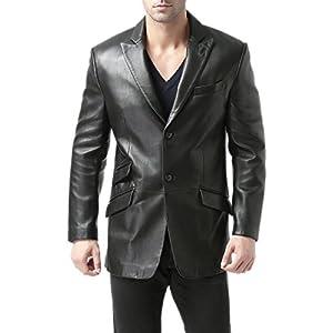 BGSD Men's Noah 2-Button Leather Blazer Lambskin Sport Coat Jacket (Regular, Big & Tall and Short)