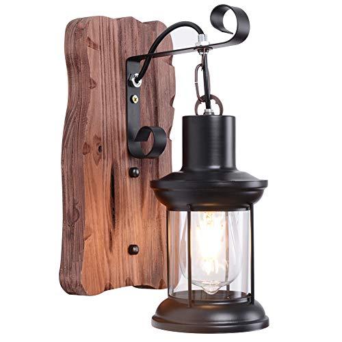 Holz Wandleuchte Vintage Retro Wandleuchten Industrial Rustikal Wandlampe Antik Innen E27 Laterne Lampe Wand Landhaus Antiken Nostalgie Wandbeleuchtung Beleuchtung Wohnzimmer [Energieklasse A++]
