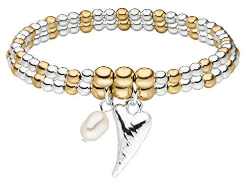 Tamaris Damen Armband Stephanie 16 cm Bicolor Herz mit Perle und Nylon Zugband TF082