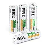 EBL - Pilas AA recargables, pilas recargables AA/LR6, de alto rendimiento, con caja de pilas