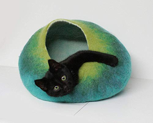Cat Cave Bed, Felt Pet House, Furniture, Cocoon, Hideaway Hand Felted Wool, Teal Green Ombre Bubble Crisp Contemporary Modern Minimal Design