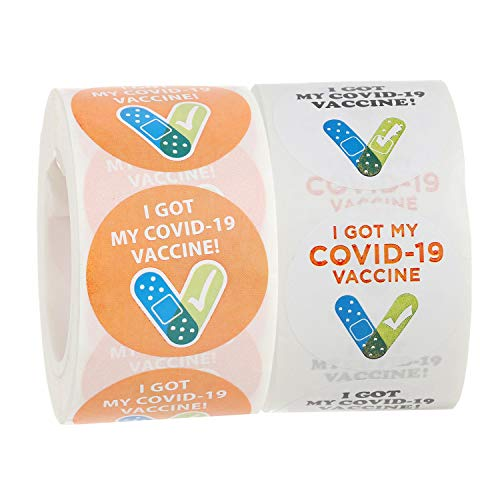 Covid Impfstoffaufkleber, 3,8 cm, rund, 2 Rollen I GOT MYCOVID-19 Impfstoffaufkleber, 500 Stück pro Rolle