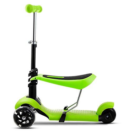 Ancheer Tretroller für Kinder, Freestyle 3-in-1, verstellbarer Sitz und Griff, mit blinkendem LED Rad und ABEC-7-Kugellager, maximale Belastung: 50 kg (grün)
