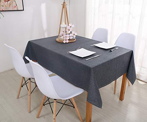 HOMBYS Mantel de lino de algodón para mesa rectangular, color gris, lavable, antideslizante, ideal para cocina, cena, decoración del hogar, gris oscuro, 130x180 cm