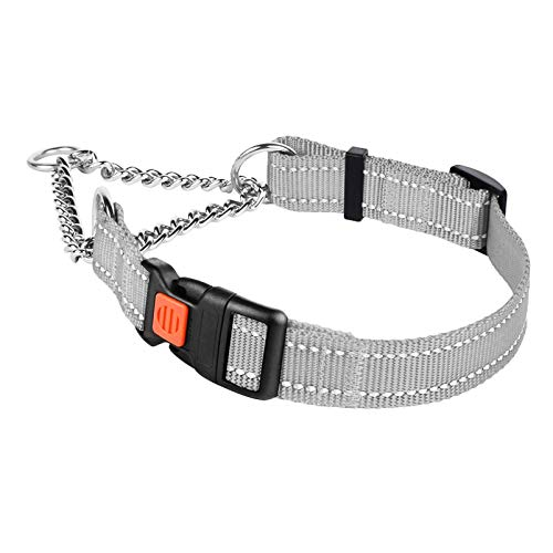Timos Martingale Dog Collar for Small Medium Large Dogs with Safety Locking Buckle Reflective Adjustable Stainless Steel Chain Dog Collars