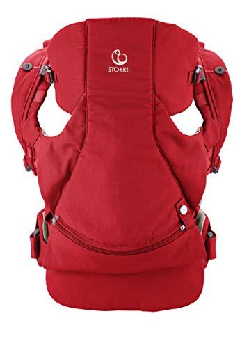 STOKKE® MyCarrier™ Bauchtrage – Mitwachsende Babytrage für Neugeborene – 3 in 1 Tragesystem aus Bio-Baumwolle – Ultraleicht & ergonomisch – Farbe: Red