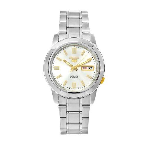 Seiko Unisex Erwachsene Analog Automatik Uhr mit Edelstahl Armband SNKK09K1