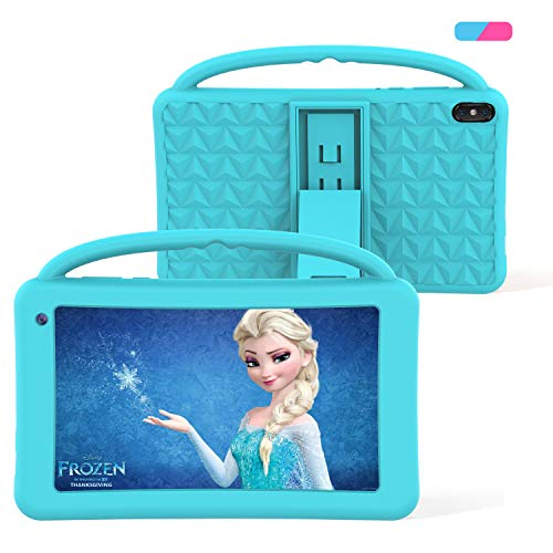 Kids Tablets Toy 7 Inch IPS HD Display QuadCore Android 10.0 Pie Tablet PC for Kids GMS Certificated 2GB RAM 32GB ROM WIFI with Handheld Portable Kids-Proof Silicon Case for Kids Birthday Gift (Blue)