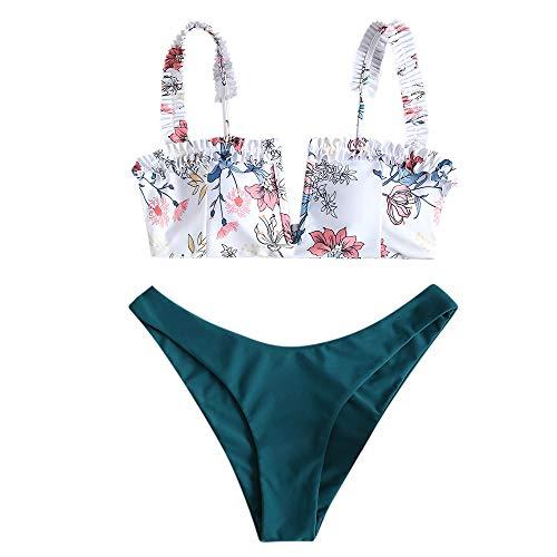 ZAFUL Women's V-Wire Padded Ribbed High Cut Cami Bikini Set Two Piece Swimsuit (B-Peacock Blue, S)
