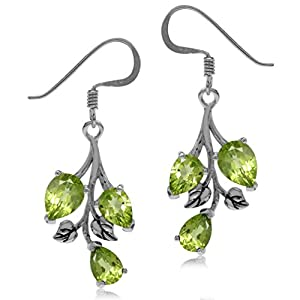 Natural Peridot 925 Sterling Silver Leaf Dangle Hook Earrings