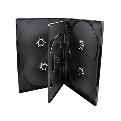 25 Pack Maxtek Standard 14mm Black Six (6) Disc DVD Cases with Double Sided Flip Tray and Outter Clear Sleeve