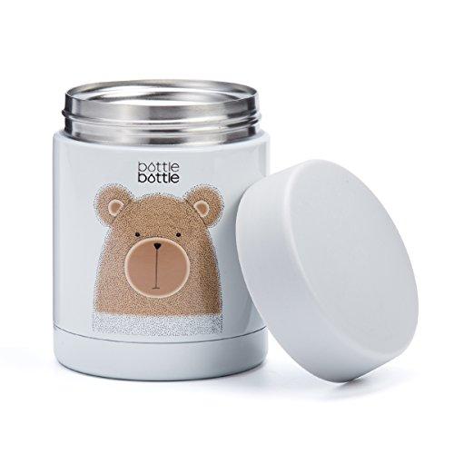 BOTTLE BOTTLE Fiambrera térmica para Bebe Niños y Adultos, Termo para Bebida Sopa (350ml, Oso)