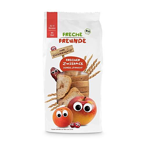 FRECHE FREUNDE Bio Frecher Zwieback Dinkel & Frucht für Babys ab dem 10. Monat, vegan, 100 g