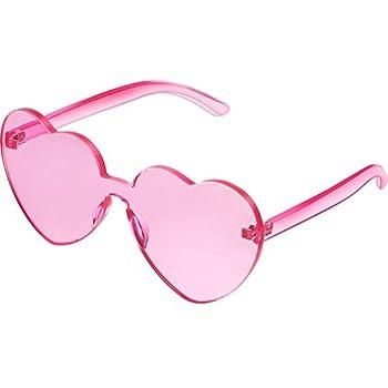 Maxdot Heart Shape Sunglasses Party Sunglasses  Transparent Pink