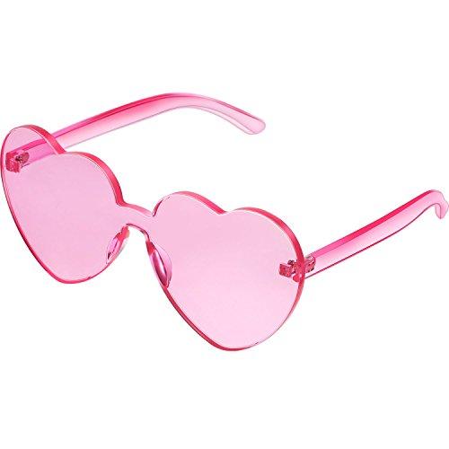 Maxdot Heart Shape Sunglasses Party Sunglasses (Transparent Pink)