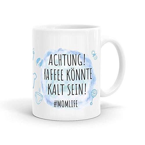 Momlife Tasse blau - Achtung! Kaffee könnte kalt Sein! - Mutter Kaffeetasse, Mama Mug Geschenk, Muttertag, Mom Spruch, Eltern, Family Life Cup