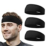 flintronic 3 PCS Elastic Sports Headbands for Men/Women - With Inner Grip Strip to Keep Headband Securely in Place | Fits ALL HEAD SIZES | Sweat Wicking Fabric to Keep your Head Dry & Cool