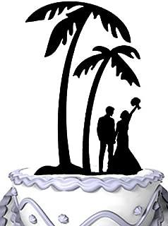 Meijiafei Bride and Groom Under Palm Tree in Beach Wedding Cake Topper