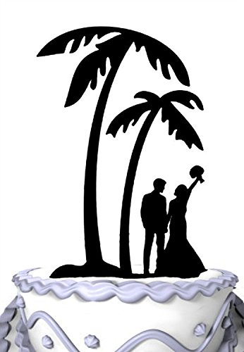 Meijiafei Bride and Groom Under Palm Tree in Beach Wedding Cake Topper