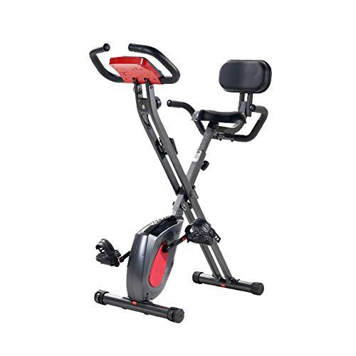 Bicicleta estática Plegable magnética, Ultra silencioso Pantalla LCD de gimnasio en casa Ciclo estacionario Bicicleta vertical de interior Resistencia ajustable Equipo de bicicleta de ejercicio