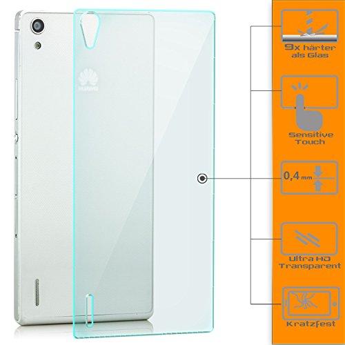 zanasta 2x Bildschirmschutz Folie aus Gehärtetem Glas Huawei Ascend P7 Panzerglas Glasfolie Schutzglas Rückseite (hinten)