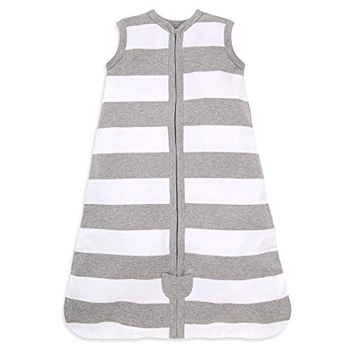 Burt's Bees Baby - Beekeeper Wearable Blanket, 100% Organic Cotton, Rugby Stripe Heather Grey (Medium)