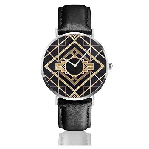 Montre en cuir style Art Deco Vintage Era The Great Gatsby Doré Noir Unisexe Classique Casual Mode Montre à quartz en acier inoxydable avec bracelet en cuir
