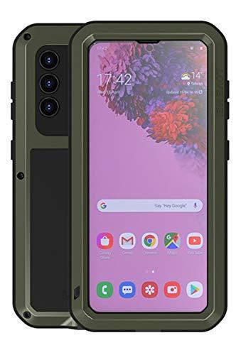 YGRY Love Mei Funda para Samsung Galaxy S21 5G, Al Aire Libre Pesado Antigolpes A Prueba de Polvo a Prueba Impermeable Metal Estuche Protectora con Protector de Pantalla Vidrio Carcasa (Verde Oscuro)