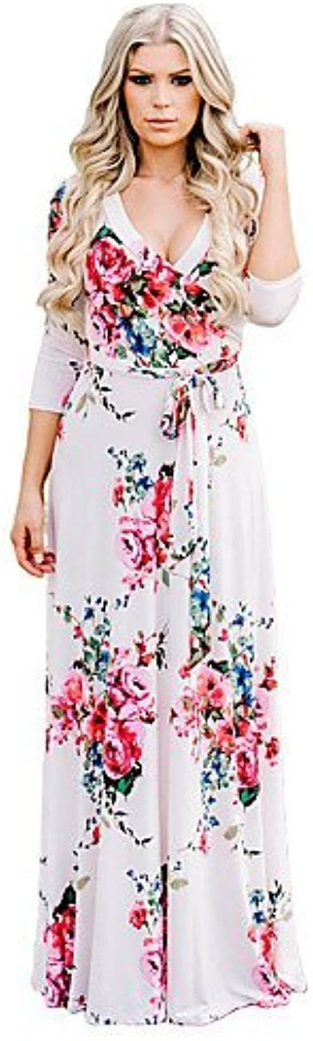 DACHUI Women's Party Dress Holiday Sexy, Floral Boho in Bulk Maxi VNeckline, 3 4sleeves Polyester Spandex Elastic highRise Medium case