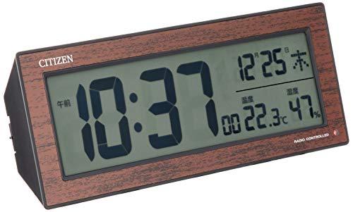 CITIZEN シチズン 目覚まし時計 電波時計 温度・湿度計付き ブラウン R195 8RZ195-023