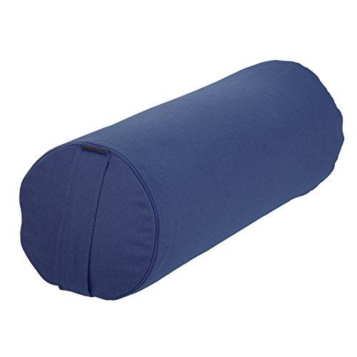 BODHI Yoga- & Pilates-Bolster Ø 23 cm, Rolle mit Bio-Dinkelspelz-Füllung, dunkelblau, Yogakissen mit Trageschlaufe &...