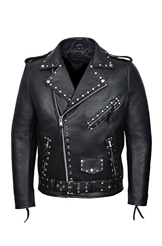 SR Real Leather Negan Chaqueta con Tachuelas de Cuero Verdadero para Hombre Color Negro Piel de Vacuno Estilo Motero Casual Ideal para La Moda de la Ciudad Super Trendy (S)
