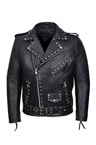 SR Real Leather Negan Chaqueta con Tachuelas de Cuero Verdadero para Hombre Color Negro Piel de Vacuno Estilo Motero Casual Ideal para La Moda de la Ciudad Super Trendy (XS)