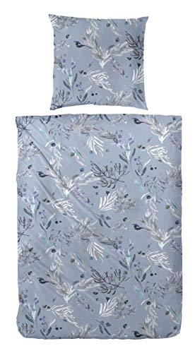 Hahn Flannelette Winter Bed Linen 135 x 200 cm Grass Leaves Flowers Blue 173069-37