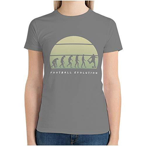 Maglietta da donna in cotone con evoluzione del calcio grigio L