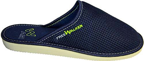 FreeWalker ® AIR   Herren Hausschuhe   Atmungsaktive & Bequeme Pantoffeln für Wohlgefühl Blau  -  45 EU