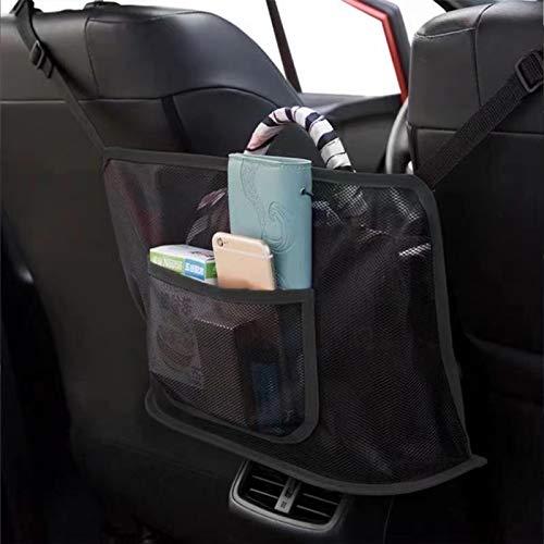 Auto Netztasche Handtaschen, Car Net Pocket Handtaschenhalter, Kofferraum Netztasche, Netz Auto Organizer, Auto Aufbewahrungsbox, Universal KFZ Auto Netz Schutznetz Organizer mit Halter (Schwarz)