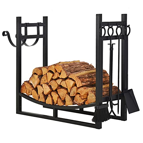 Patio Watcher 3-Foot Firewood Rack Wood Storage Log Holder with Kindling Holder and 4 Tools Indoor Outdoor Fireplace Heavy Duty SteelBlack