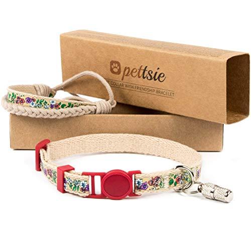 Collar para gatos con hebilla de seguridad y brazalete de amistad marca Pettsie