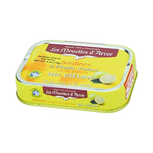 Sardinen in Zitrone und Olivenöl, 115g, Les Mouettes d\'Arvor, Sardines au citron et à l\'huile d\'olive vierge extra, Les Mouettes d\'Arvor, 115g