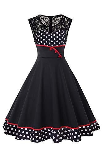 MisShow Retro Vintage Kleider Petticoat Kleid 50er Jahre Rockabilly Kleid Gepunkt Kleid Fasching Karneval Kleid B-Schwarz L
