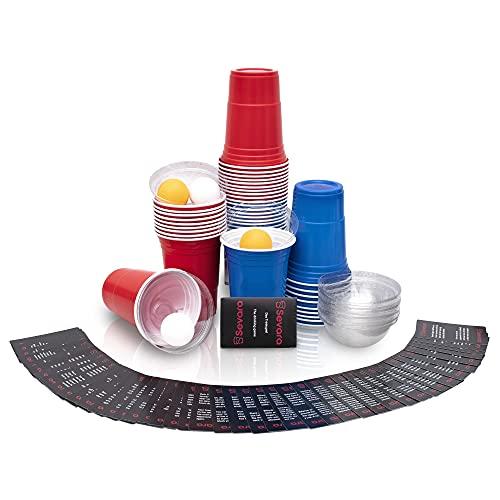Sevara © Bierpong Becher mit Kartenspiel und [20x] clean cups - Party Set aus [20x] hochwertigen Trinkbechern / 52 verschiedenen Gesellschaftsspielen auf Deutsch und Englisch / [4x] Pingpongbälle