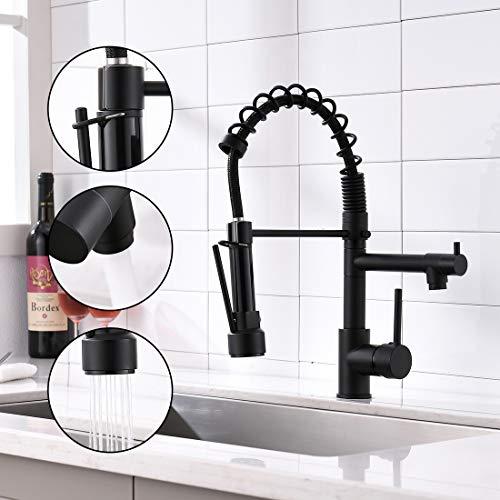 AIMADI Wasserhahn Küche Mischbatterien Küchenarmatur mit Brause Ausziehbar Spültischarmatur Spiralfederarmatur Küchenspüle Armatur Schwarz