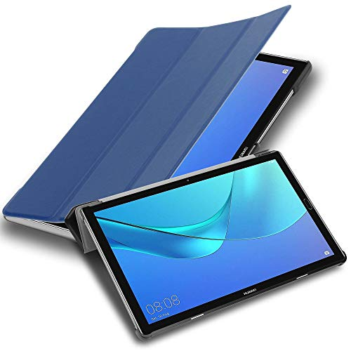"""Cadorabo Tablet Hülle für Huawei MediaPad M5 LITE 10 (10,1"""" Zoll) in Jersey DUNKEL BLAU – Ultra Dünne Book Style Schutzhülle mit Auto Wake Up und Standfunktion aus Kunstleder"""