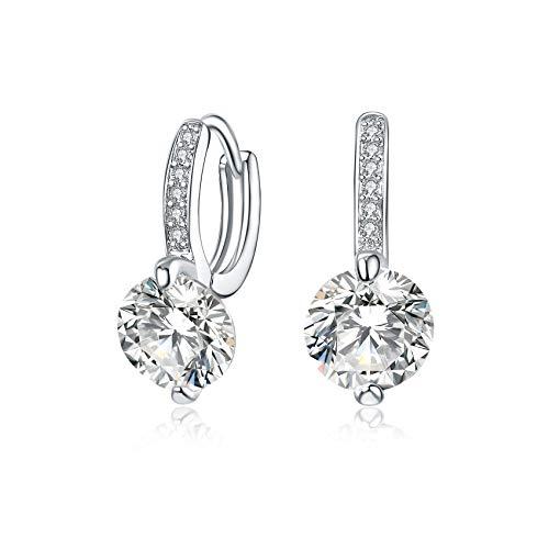 925 Sterling Silver Round Cut Gorgeous Bridal Dangle Earrings Earrings Charm Cubic Zirconia Drop Dangling Earrings for Women Girls as Valentine's/Wedding Earrings/Engagement Gifts