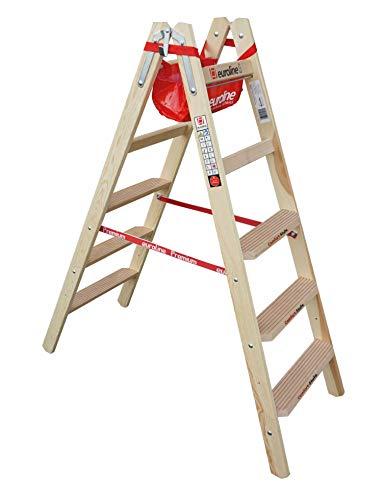 Euroline Holz Comfort-Stufenstehleiter mit Eimerhaken und Werkzeugablagetasche Nr. 10577-2x5