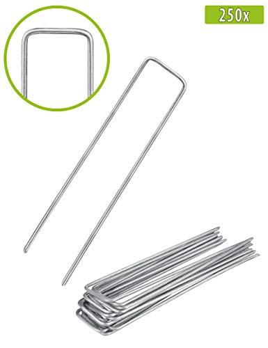 Balinco 250x Anti-ROST Erdanker | Bodenanker | Erdnägel aus verzinktem Stahl zur Befestigung von Unkrautvlies | Unkrautfolie | Gartenvlies | Zaun & Netz oder fürs Camping - (250, 150x25x2,7 mm)