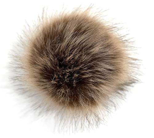 FISH IN THE SEA Premium Fake Fur Kunstfell Bommel 17-19cm Fellbommel Braun meliert mit Druckknopf in leicht zum Anbringen Abnehmbarer Pom Pom für Strickmütze